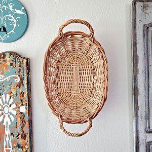 Rattan Double Handled Basket Farmhouse Boho Decor
